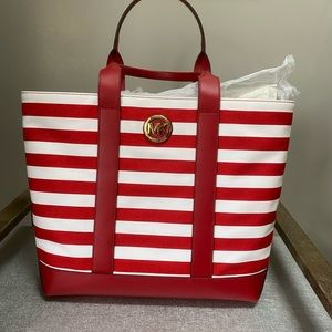 Michael Kors Striped Canvas Tote